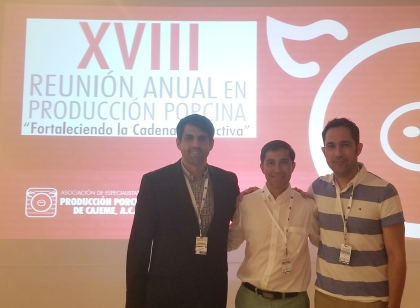 Drs. Fabio Vannucci, Jorge Garrido, Carles Vilalta at the Annual swine production conference in Mexico.